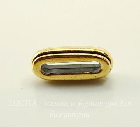 """Бусина для шнура 12х2 мм TierraCast """"Deco slide"""" 17х7х6 мм (цвет-античное золото)"""