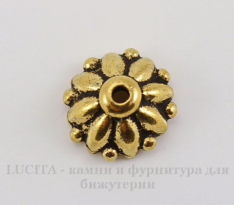 "Шапочка для бусины TierraCast ""Дхарма"" (цвет-античное золото) 10х4,5 мм"