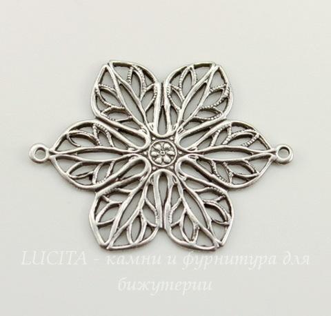 Винтажный декоративный элемент - коннектор Цветок (1-1) 26х20 мм (оксид серебра)