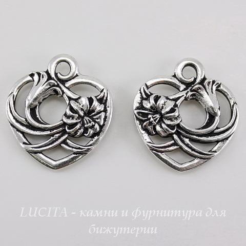 "Подвеска TierraCast ""Сердце с цветком"" (цвет-античное серебро) 20х18 мм"