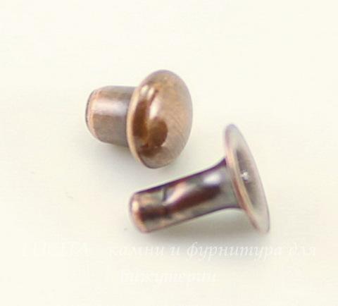 Заклепка из 2х частей TierraCast 5х1,7 мм, 4х4 мм (цвет-античная медь)