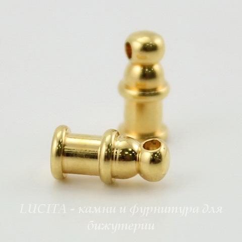 "Концевик для шнура 2 мм TierraCast ""Pagoda"" (цвет-золото) 10х4 мм ()"