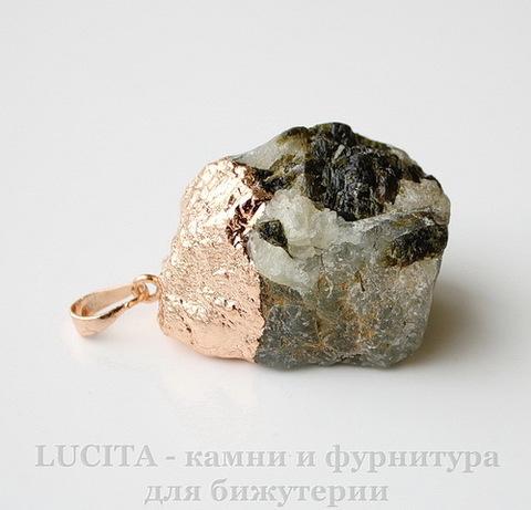 Подвеска Пренит с покрытием фольги (цвет - розовое золото) 35,6х28х22,4 мм №15