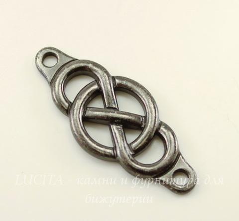 """Коннектор (1-1) TierraCast """"Infinity Сenterpiece"""" (цвет-черный никель) 35х15 мм"""