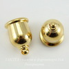 """Концевик для шнура 8 мм TierraCast """"Taj"""" (цвет-золото) 16х11 мм"""