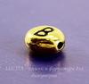 "Бусина овальная TierraCast ""Буква B"" 7х6х3 мм (цвет-античное золото)"