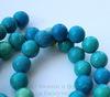 Бусина Хризоколла (тониров), шарик, цвет - зелено-голубой, 10 мм, нить