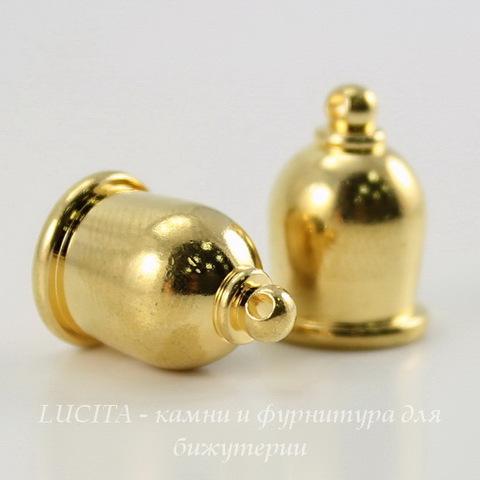 """Концевик для шнура 8 мм TierraCast """"Taj"""" (цвет-золото) 16х11 мм ()"""