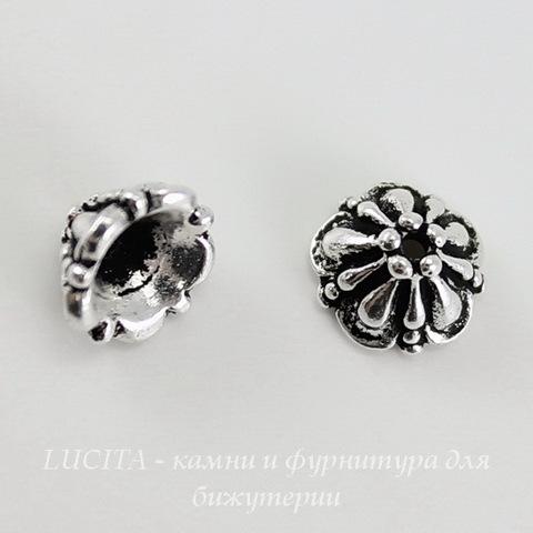 "Шапочка для бусины TierraCast ""Tiffani"" (цвет-античное серебро) 7х4,5 мм ()"