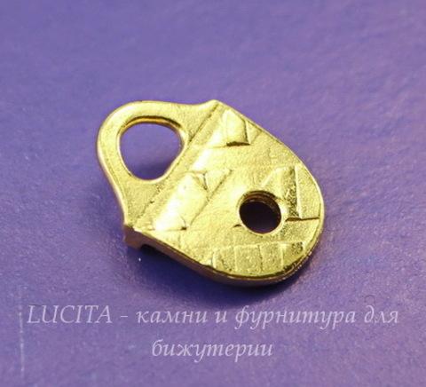 """Концевик для плоского шнура TierraCast """"Геометрия"""" (цвет-золото) 16х12 мм"""