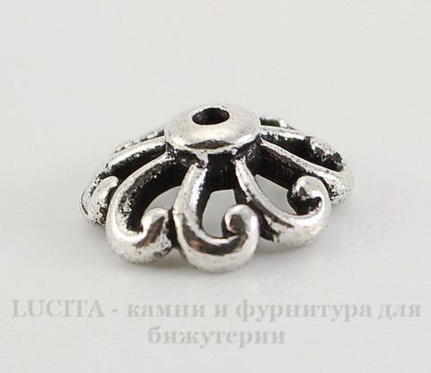 """Шапочка для бусины TierraCast """"Ажурная"""" (цвет-античное серебро) 12х4,5 мм"""