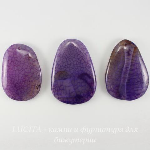 Подвеска Агат Крэкл (тониров), цвет - фиолетовый, 50-62 мм ()