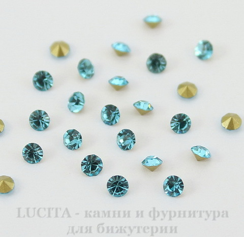 Стразы ювелирные (цвет - бирюзовый) 2,8 мм, 10 шт