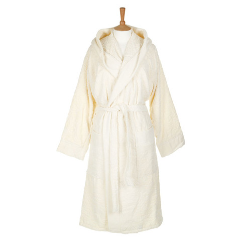 Элитный халат велюровый Damasco с капюшон 810 ecru от Roberto Cavalli