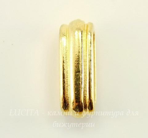 "Бусина для шнура 12х2 мм TierraCast ""Deco slide"" 17х7х6 мм (цвет-золото)"