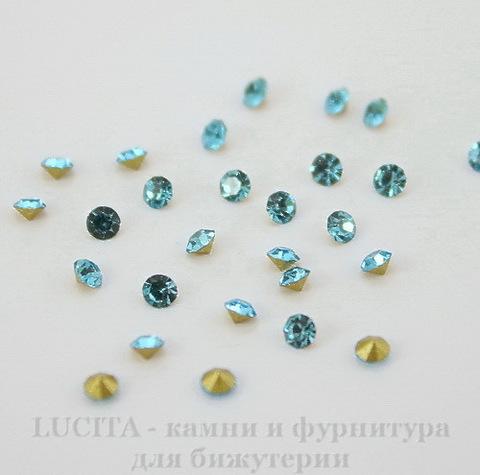Стразы ювелирные (цвет - бирюзовый) 2,4 мм, 10 шт