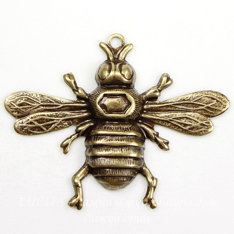 """Винтажный декоративный элемент - подвеска """"Пчела"""" 33х26 мм (оксид латуни) ()"""