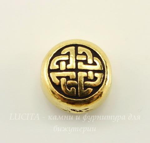 """Бусина плоская круглая TierraCast """"Кельтская"""" (цвет-античное золото) 10х5 мм"""