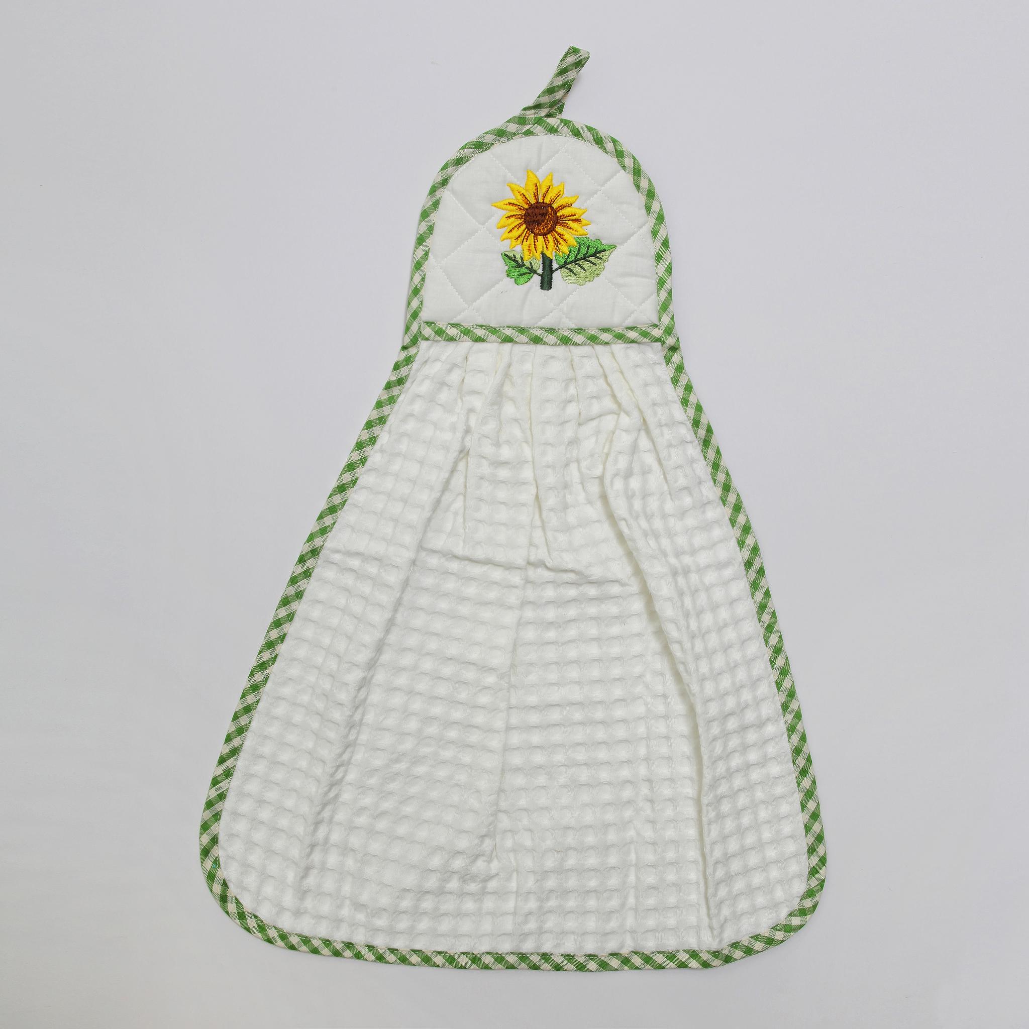 Кухонные полотенца Полотенце-галстук Old Florence Girasoli с зеленым кантом белое kuhonnoe-polotentse-galstuk-girasoli-s-zelyonym-kantom-ot-old-florence-italiya.JPG