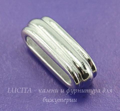 """Бусина для шнура 12х2 мм TierraCast """"Deco slide"""" (цвет-платина) 17х7х6 мм"""