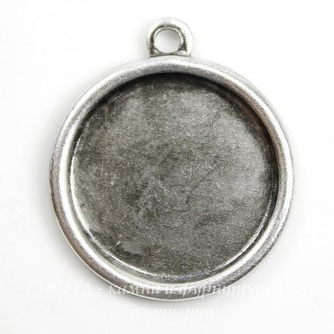 Сеттинг - основа - подвеска для камеи или кабошона 13 мм (оксид серебра) ()