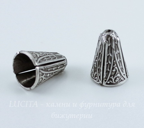 Винтажный декоративный элемент - шапочка - конус 14х10 мм (оксид серебра)