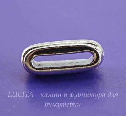 """Бусина для шнура 12х2 мм TierraCast """"Deco slide"""" 17х7х6 мм (цвет-платина)"""
