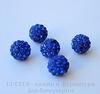 Бусина для шамбалы с фианитами, цвет - синий, 10 мм ()