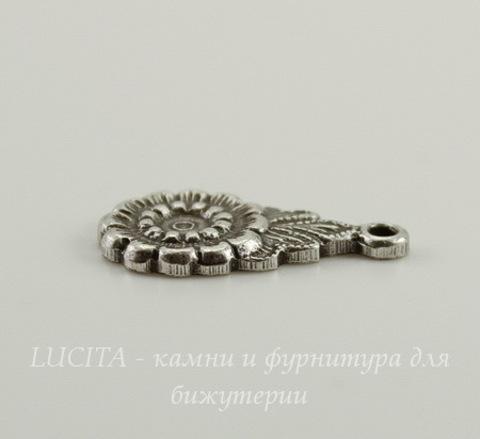 """Винтажный декоративный элемент - подвеска """"Цветочек"""" 16х9 мм (оксид серебра)"""