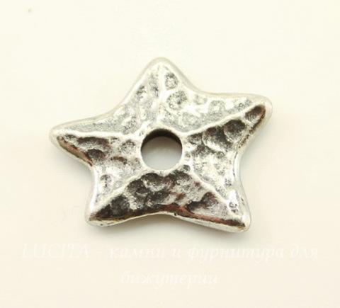 """Элемент под заклепку TierraCast """"Звезда"""" (цвет-античное серебро) 14х12 мм"""