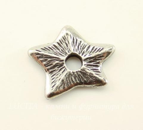 """Элемент под заклепку TierraCast """"Звезда"""" 14х12 мм (цвет-античное серебро)"""