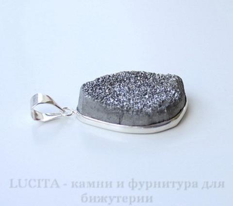 Подвеска Кварц в рамке (цвет - античное серебро) 35,7х21х9,2 мм №38