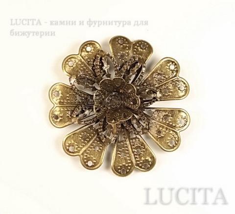 """Коннектор """"Цветок"""" 39х39 мм (цвет - античная бронза) ()"""