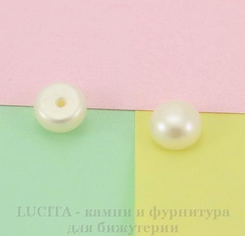 Полубусина Жемчуг (категория А), цвет - белый, 6х4 мм, ПАРА ()