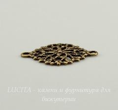 Винтажный декоративный элемент - коннектор - филигрань (1-1) 17х13 мм (оксид латуни)