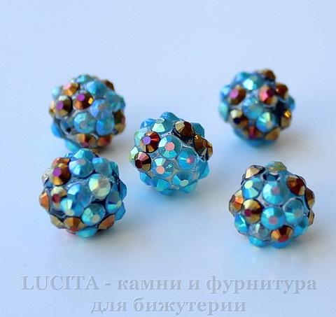 Бусина для шамбалы со стразами, цвет - голубой + цветной, 12 мм