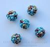 Бусина для шамбалы со стразами, цвет - голубой + цветной, 12 мм ()