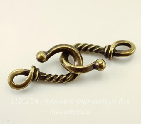 "Замок - крючок TierraCast ""Твист"" (цвет-античная латунь) 24х12 мм"
