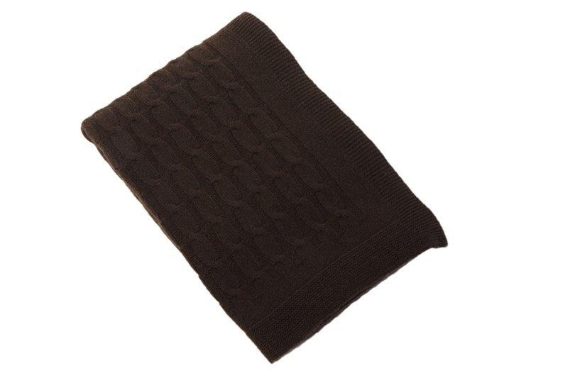 Элитный плед вязанный кашемировый Top коричневый от CO.BI.