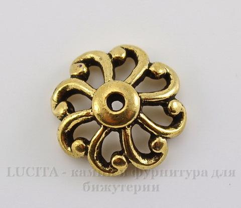 """Шапочка для бусины TierraCast """"Ажурная"""" (цвет-античное золото) 12х4,5 мм"""