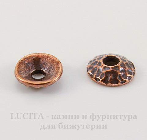 "Шапочка для бусины TierraCast ""Hammertone"" (цвет-античная медь) 9х2,5 мм"