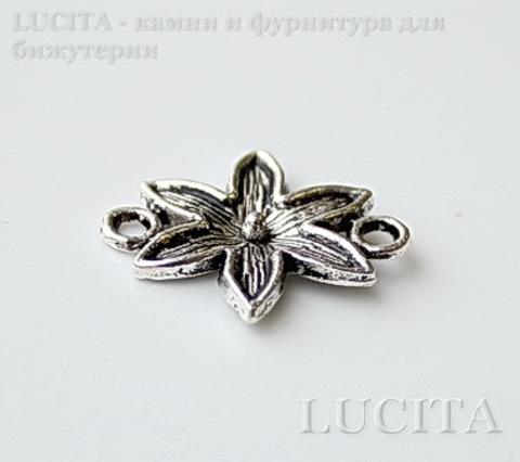 """Коннектор """"Цветочек"""" (1-1) (цвет - античное серебро) 18х16 мм ()"""