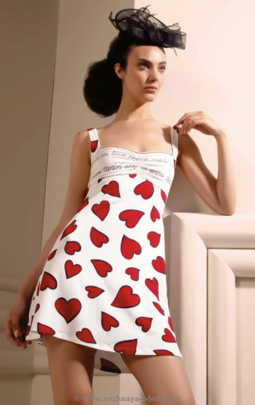 Домашняя сорочка с сердечками Pepita