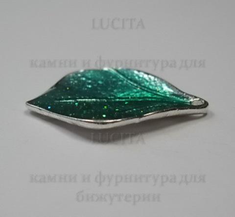 """Подвеска металлическая с эмалью """"Листик"""" (цвет -серебро) 21х14 мм ()"""