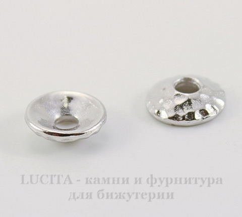 "Шапочка для бусины TierraCast ""Hammertone"" (цвет-платина) 9х2,5 мм"