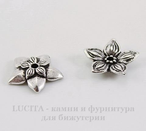 """Шапочка для бусины TierraCast """"Жасмин"""" (цвет-античное серебро) 11х2,5 мм"""