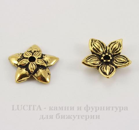 "Шапочка для бусины TierraCast ""Жасмин"" (цвет-античное золото) 11х2,5 мм"