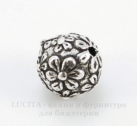 """Бусина - шарик TierraCast """"Цветы"""" (цвет-античное серебро) 8 мм"""