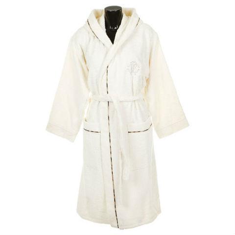 Элитный халат махровый Basic с капюшоном слоновой кости от Roberto Cavalli