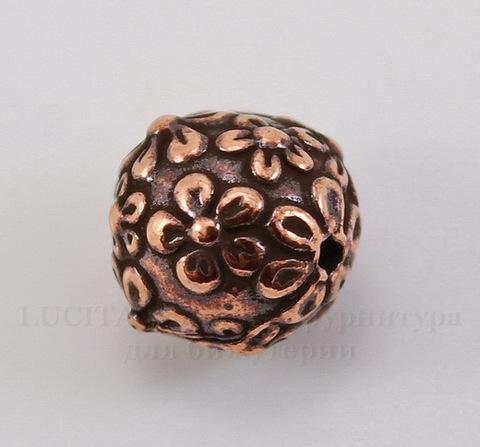 """Бусина - шарик TierraCast """"Цветы"""" (цвет-античная медь) 8 мм"""